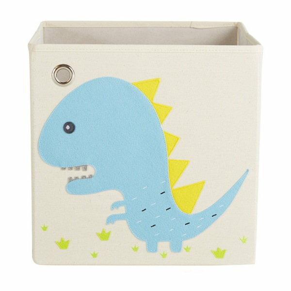 美國【KAIKAI&ASH】寶寶動物系列收納箱-吼吼暴龍摺疊收納箱玩具收納箱整理箱設計風棉麻不織布
