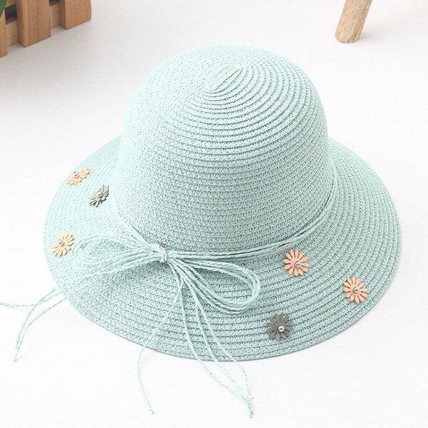 草帽花朵蝴蝶結可折疊漁夫帽遮陽草帽-大人兒童【JYF0089】BOBI0412