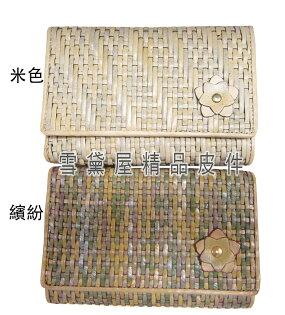 ~雪黛屋~cecile中夾復古皮夾四折暗釦型主袋100%進口編織牛皮革材質W6226557