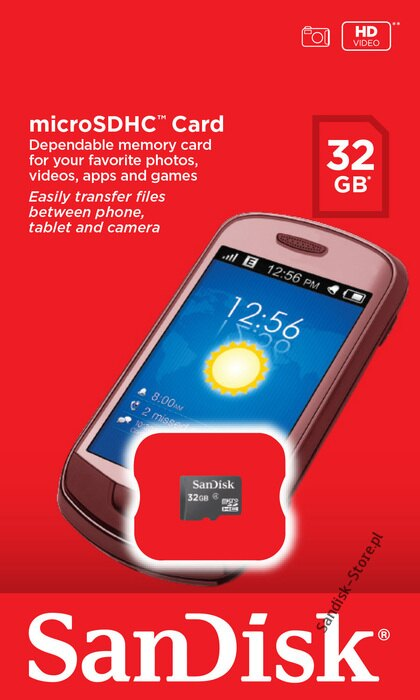 SanDisk 32GB microSDHC Class 4 32G microSD High Capacity micro SDHC C4 TF Flash Memory Card SDSDQ-032G Retail