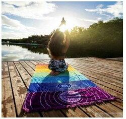 瑜伽墊 沙灘巾 流蘇 【長方形流蘇地墊】長方形沙灘墊 披肩 多色【狂麥市集】