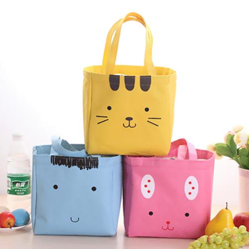 《波卡小姐》大容量!日式可愛動物便當袋 防水保溫野餐束口袋 兔子貓咪手提午餐袋 可拆水洗萬用帆布包環保購物袋 zakka創意雜貨小禮物