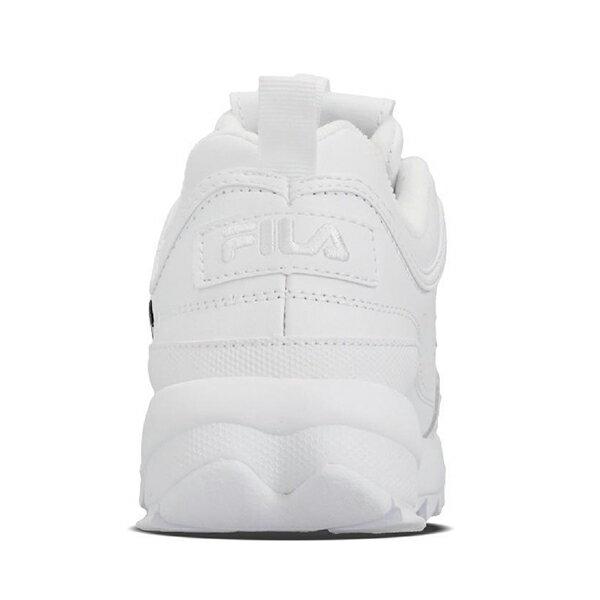 《限量商品》Shoestw【5C113T125】FILA DISRUPTOR II SCRIPT 復古運動鞋 老爹鞋 鋸齒鞋 厚底增高 皮革 大LOGO 白色 女生 4