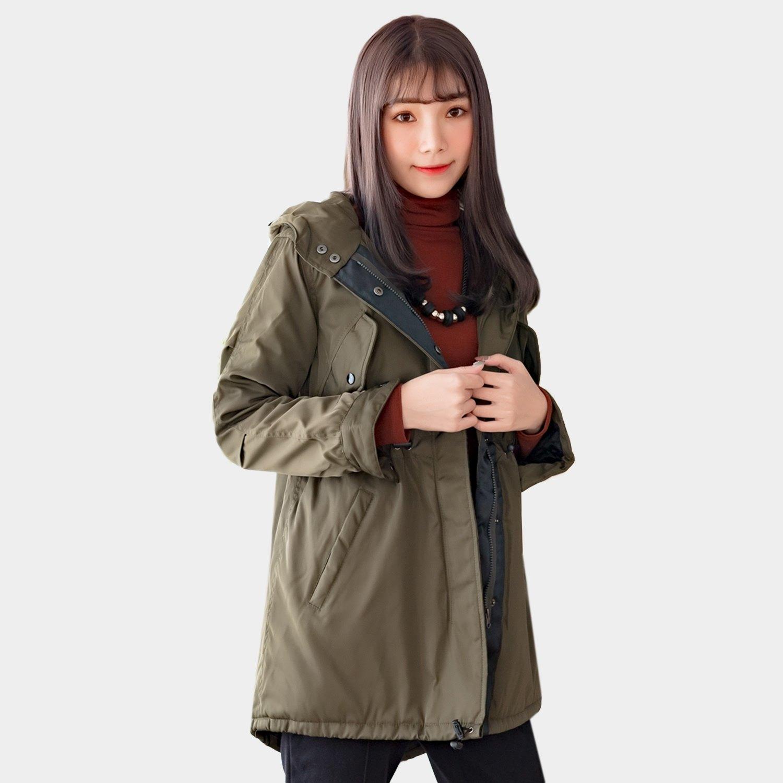 防風外套--時尚保暖立領連帽開衩口袋收腰拉鍊風衣外套(黑.紅.綠S-3L)-J266眼圈熊中大尺碼 0