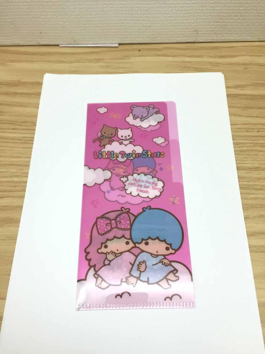 【真愛日本】17041100004 長型小雙層L夾-TS雲朵粉 三麗鷗家族 Kikilala 雙子星 收納 文具用品