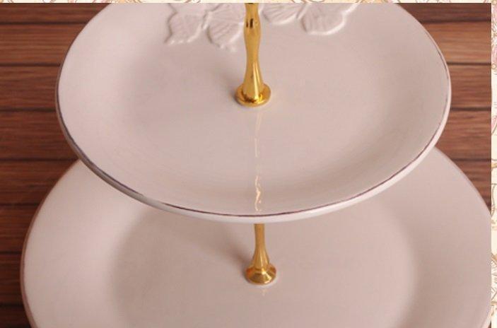 歐式白色做舊浮雕蝴蝶時尚陶瓷兩層圓果盤 點心盤 蛋糕盤 零食盤