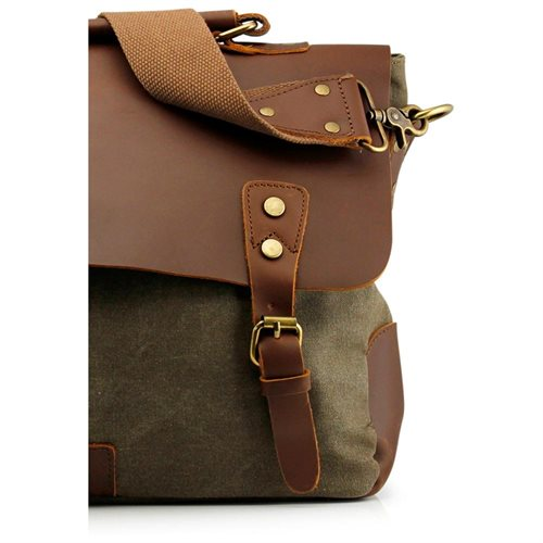 473efbcdfaac Men s Vintage Canvas Leather Satchel School Military Messenger Shoulder Bag  Travel Bag - Army Green 1