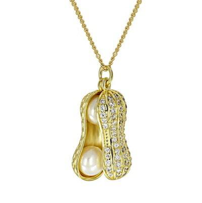 純銀項鍊 鍍18K金珍珠吊墜~精美鑲鑽花生 七夕情人節 女飾品73dh1~ ~~米蘭 ~