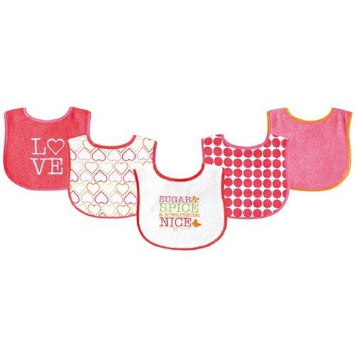 【HELLA 媽咪寶貝】美國 luvable friends 嬰幼兒口水巾(底層防水)圍兜5入組-兩款(02189)