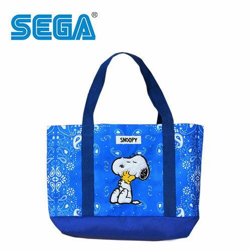 藍色款【日本正版】史努比肩揹提袋手提袋肩背包托特包SnoopySEGA-334494