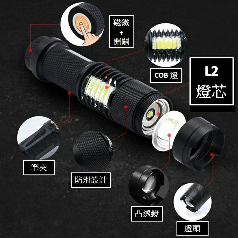 SK-98 底部磁鐵 小鋼砲L2+COB強光手電筒 L2手電筒 L2工作燈 磁鐵手電筒 2