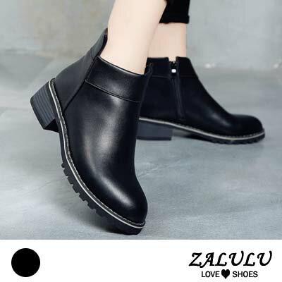 ZALULU愛鞋館 HE283預購 潮流百搭素面拉鍊低跟短靴-偏小-黑-36-39