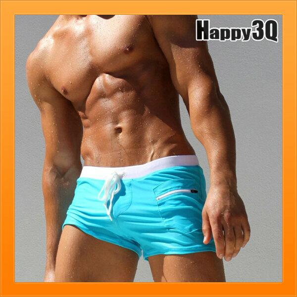 低腰性感短褲子泳褲束口腰帶鬆緊大尺寸泳褲-黑紅青藍橘M-3XL【AAA4646】