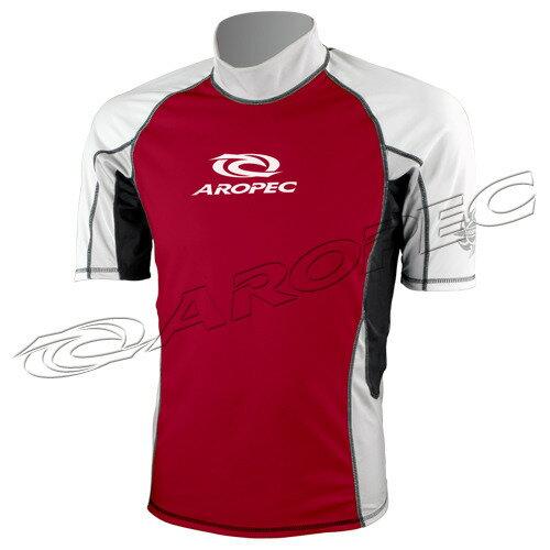 【【蘋果戶外】】AROPECSS-3K10M-RD(紅白灰)百分百台灣製品質保證抗UV設計款男款短袖萊克衣