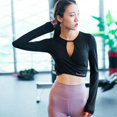 瑜珈服長袖上衣-性感美胸露腰健身女運動服3色73rh10【獨家進口】【米蘭精品】
