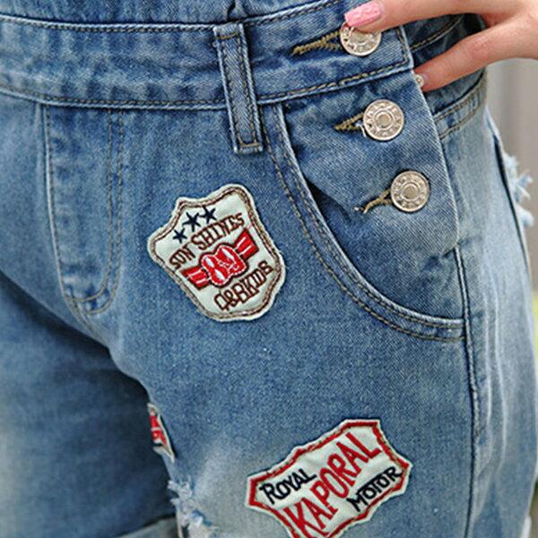 牛仔吊帶徽章牛仔連身褲 《2款》藍色巴黎【23263】 現貨 2