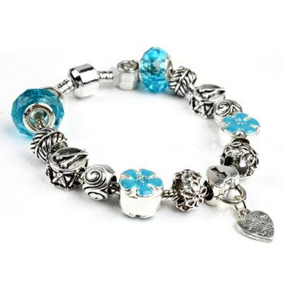 ~手鍊潘朵拉元素串珠手鍊925純銀~水晶飾品藍色海洋七夕情人節生日 女 73bm50~ ~