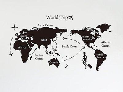 BO雜貨【YV2634】可移動 時尚組合相框壁貼 牆貼 壁貼紙 創意璧貼 世界地圖