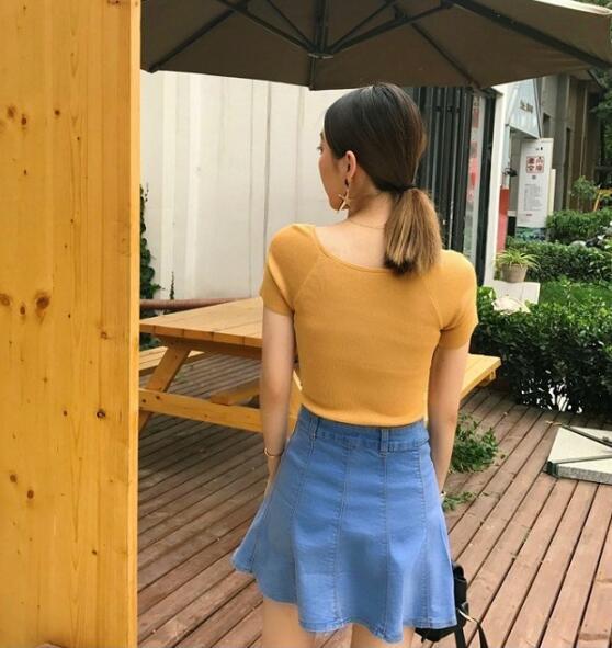 指定款2件88折 ▶簡約夏日‧純色V領交叉修身針織短袖上衣 - shiny藍格子【V1871】★▶超取$299免運