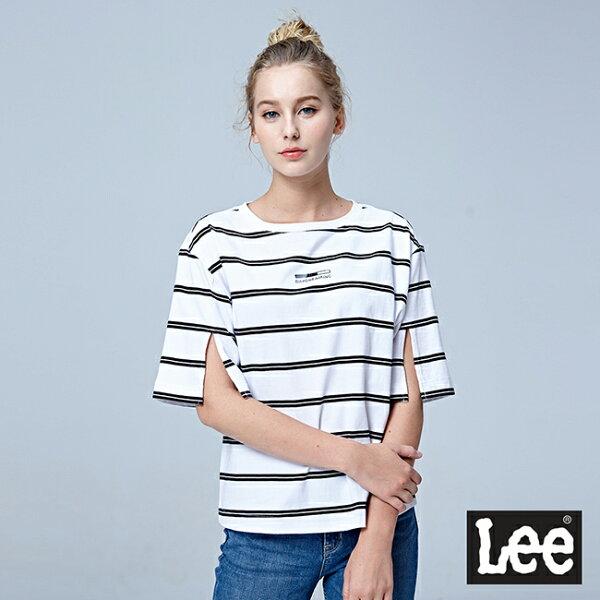 Lee條紋短袖圓領TEE-白色