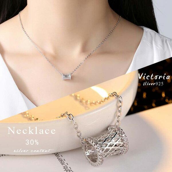 Victoria:S925銀鏤空幾何大方設計感項鍊-維多利亞1612162