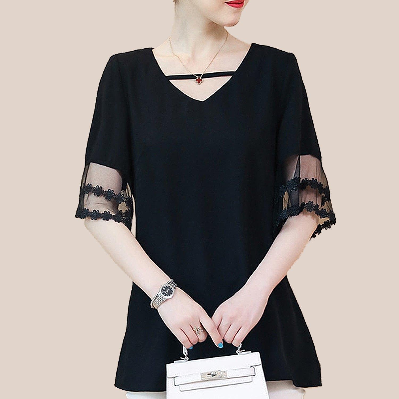 蕾絲上衣--優雅時尚網紗蕾絲荷葉袖拼接小A顯瘦V領雪紡上衣(黑L-3L)-U528眼圈熊中大尺碼 0