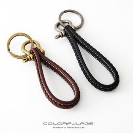 簡約車線編織皮革鑰匙圈柒彩年代【NF85】掛於包包腰間