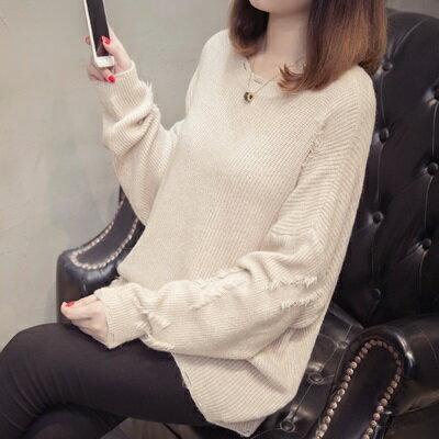 針織毛衣圓領打底衫-有型破洞寬鬆純色女罩衫4色73tp14【獨家進口】【米蘭精品】