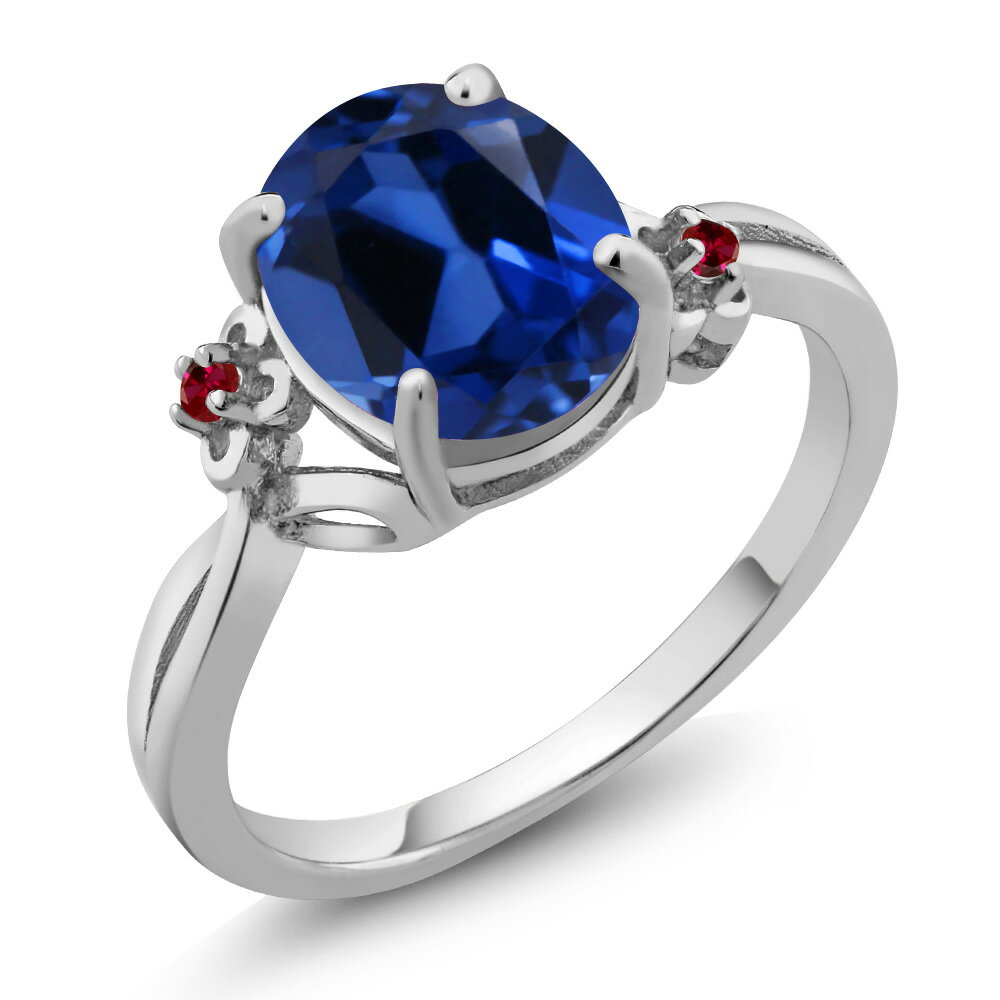 3.33 Ct Oval Blue Simulated Sapphire Red Created Ruby 925 Sterling Silver Ring 0