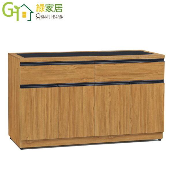【綠家居】杜納時尚5.1尺木紋玻璃餐櫃收納櫃
