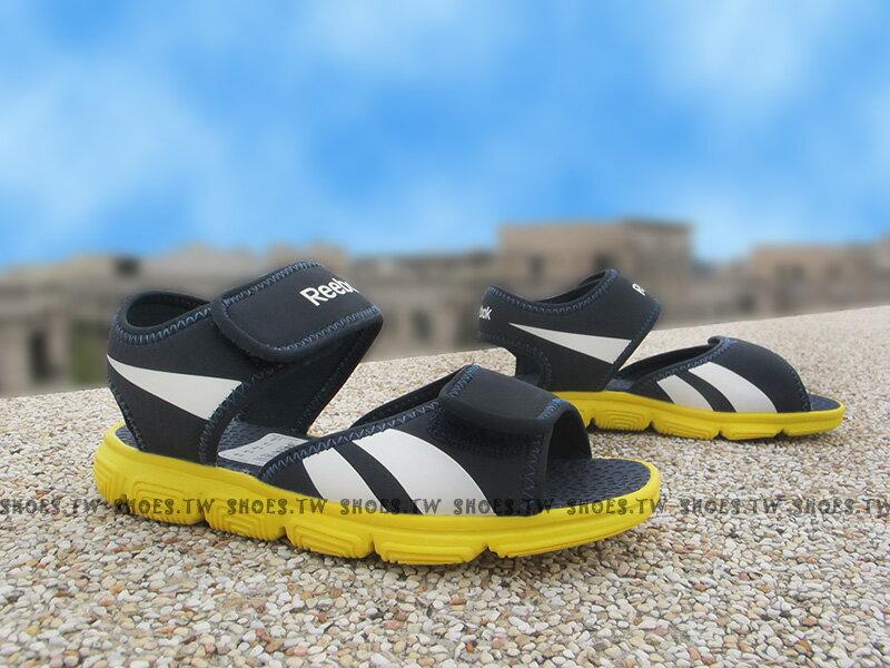 Shoestw【V70551】Reebok 涼鞋 中童鞋 免綁帶 深藍 黃底