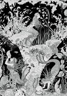 海底美人魚圖黑白色MERMAIDSWALLPAPERB&W