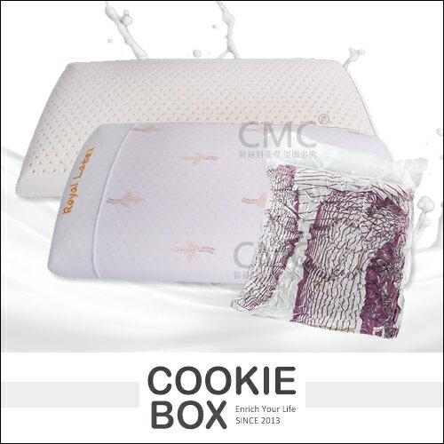 泰國製正品RoyalLatex皇家國王枕(紫包裝)麵包枕乳膠枕頸椎枕附枕頭套柔軟舒適枕頭*餅乾盒子*