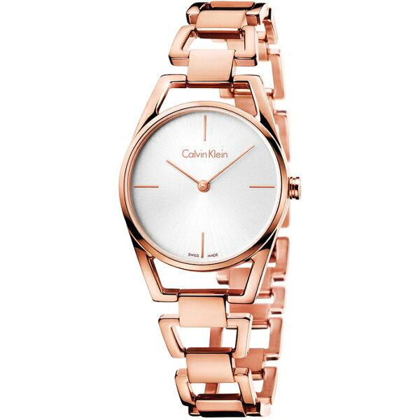 CK優美系列(K7L23646)玫瑰金幾何非凡完美時尚腕錶白面30mm