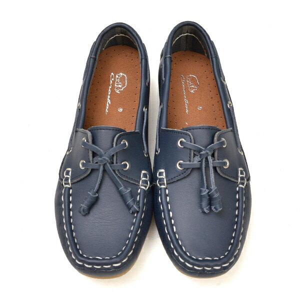 專櫃款 全真皮柔軟綁結豆豆鞋-藍