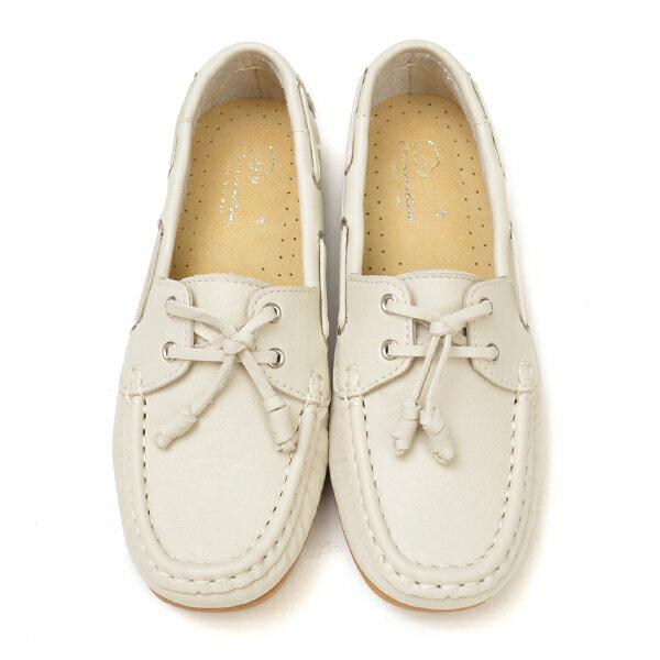 專櫃款 全真皮柔軟綁結豆豆鞋-米白