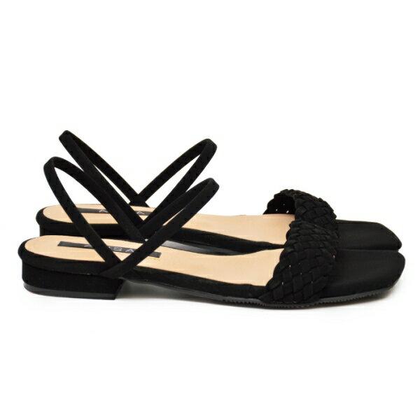 涼鞋 寬版編織方頭低跟鞋-黑