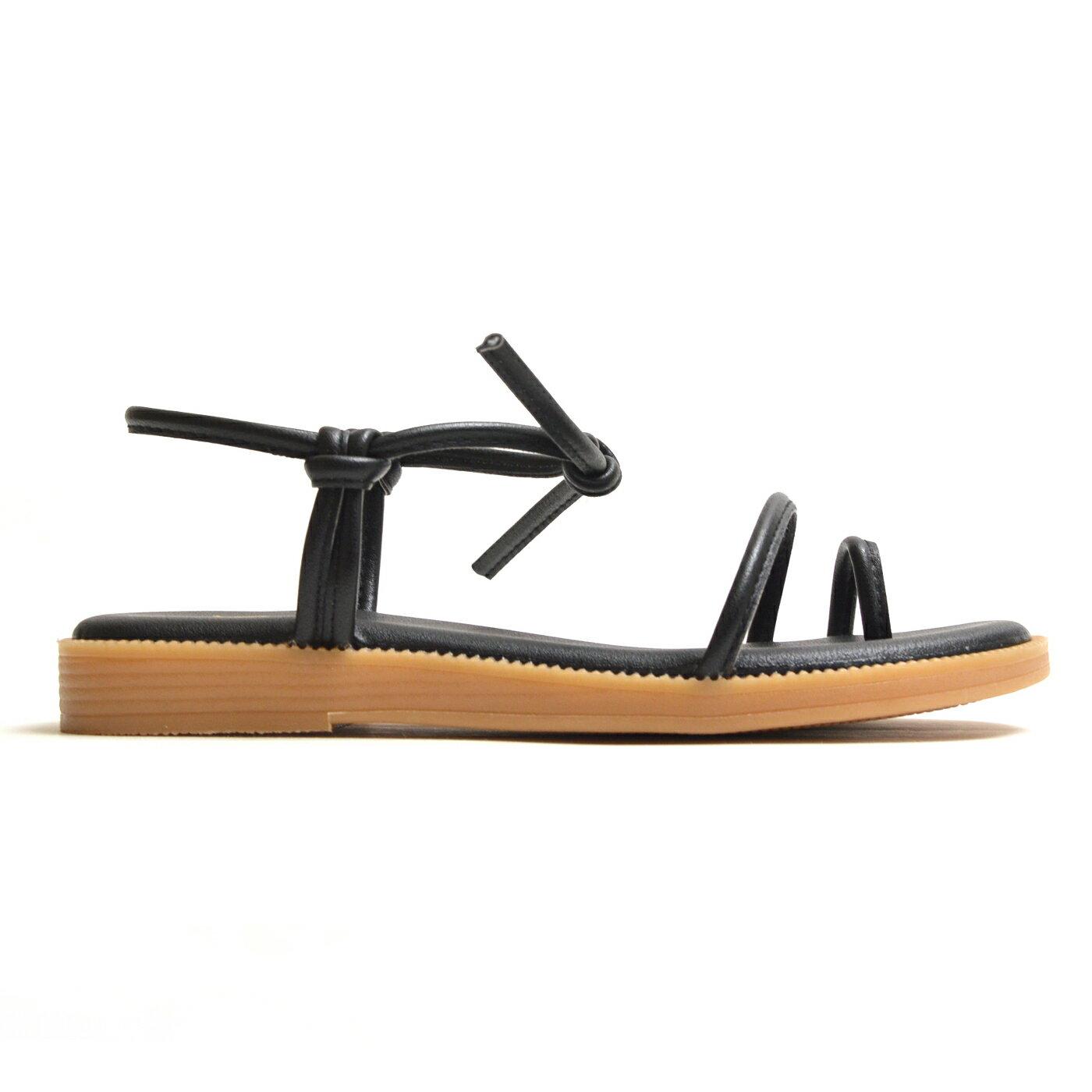 涼鞋 簡約線條綁結平底鞋