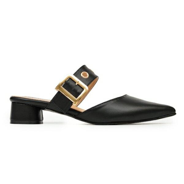 MIT金屬釦寬帶尖頭低跟穆勒鞋-黑