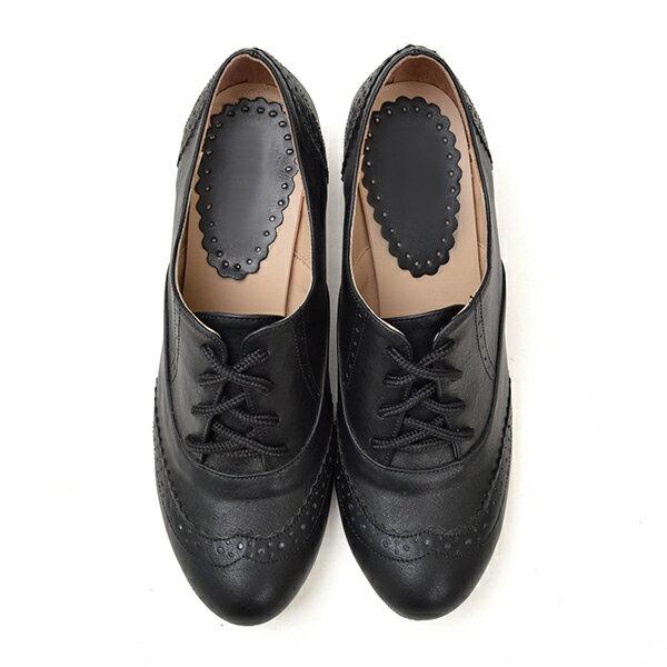 復古刷色雕花綁帶牛津鞋-黑