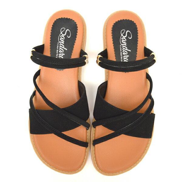 涼鞋 兩穿斜帶軟底平底鞋-黑
