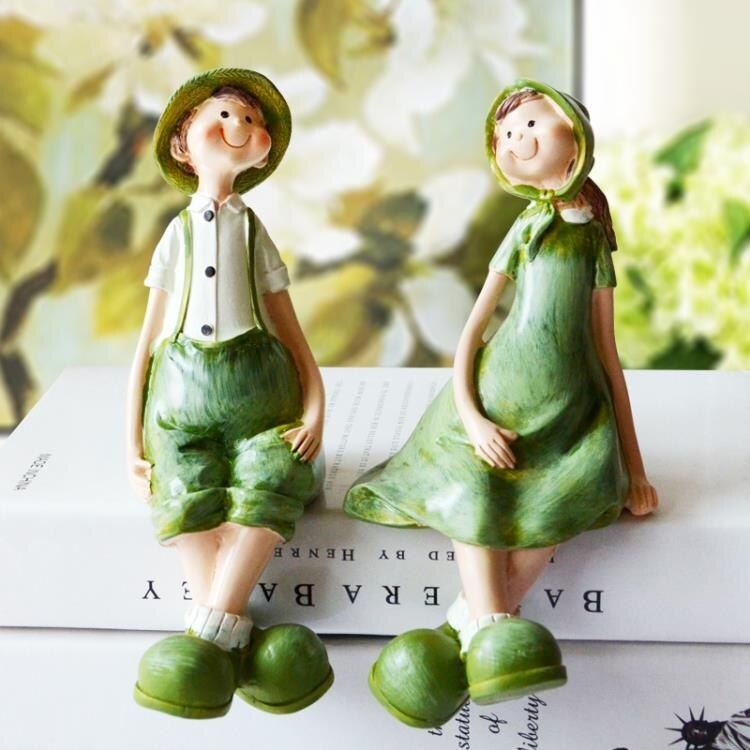 創意歐式現代田園家居房間裝飾品結婚禮物吊腳娃娃情侶人物小擺件