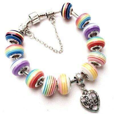 手鍊 潘朵拉元素串珠手鍊 925純銀~琉璃飾品彩虹條紋 亮麗女 2款73bo48~ ~~米