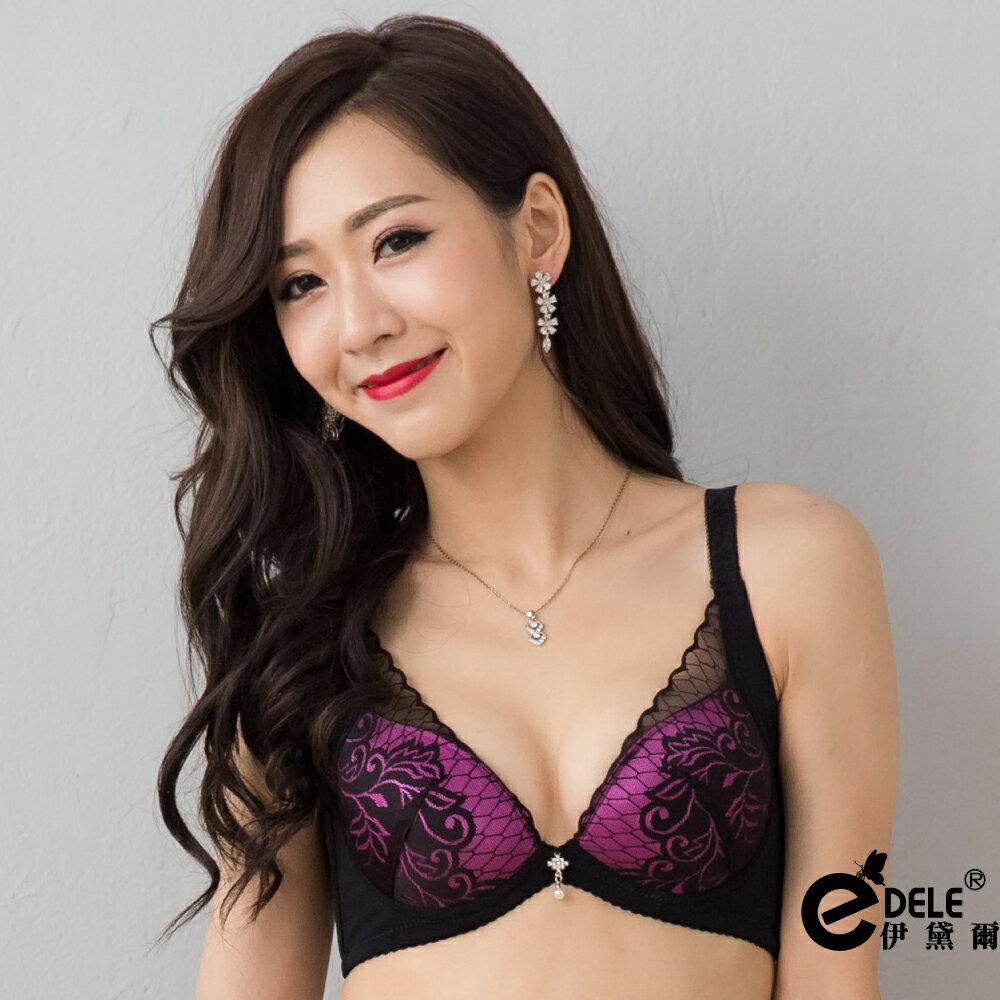 【伊黛爾】緹花薄紗蕾絲低脊心性感內衣褲套組 - 媚影紫