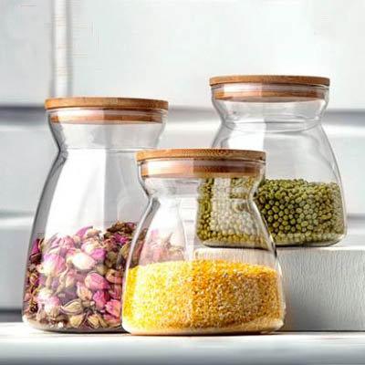 【梯形儲物罐套裝-1大1小-7001100ml-1套組】透明玻璃罐食品收納瓶密封罐-7201011