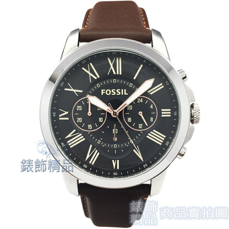 【錶飾精品】FOSSIL 手錶 FS4813 羅馬時標 三眼計時 黑面 棕色錶帶 44mm 男錶