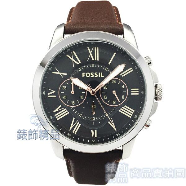【錶飾精品】FOSSIL手錶FS4813羅馬時標三眼計時黑面棕色錶帶44mm男錶