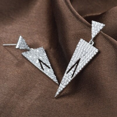 925純銀耳環鑲鑽耳飾~獨特 幾何 生日情人節 女飾品73hz101~ ~~米蘭 ~