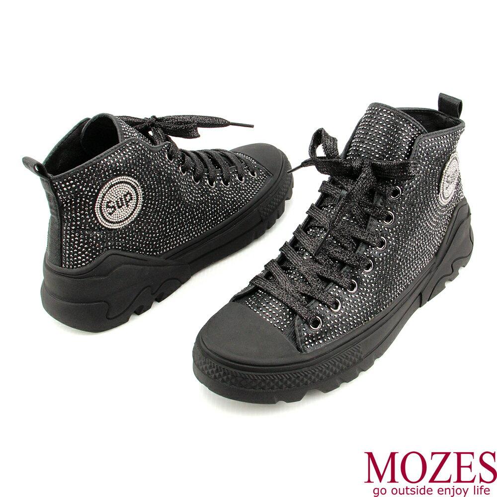 【MOZES】率性綁帶水鑽中跟氣墊中筒靴 2