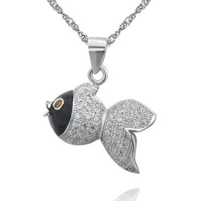 925純銀項鍊 鑲鑽吊墜~ 大方可愛小魚母親節情人節生日 女飾品73dk301~ ~~米蘭